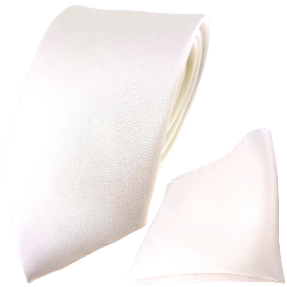 Paul Malone Krawatte weiß einfarbig weiß uni satin Seidenkrawatte 842