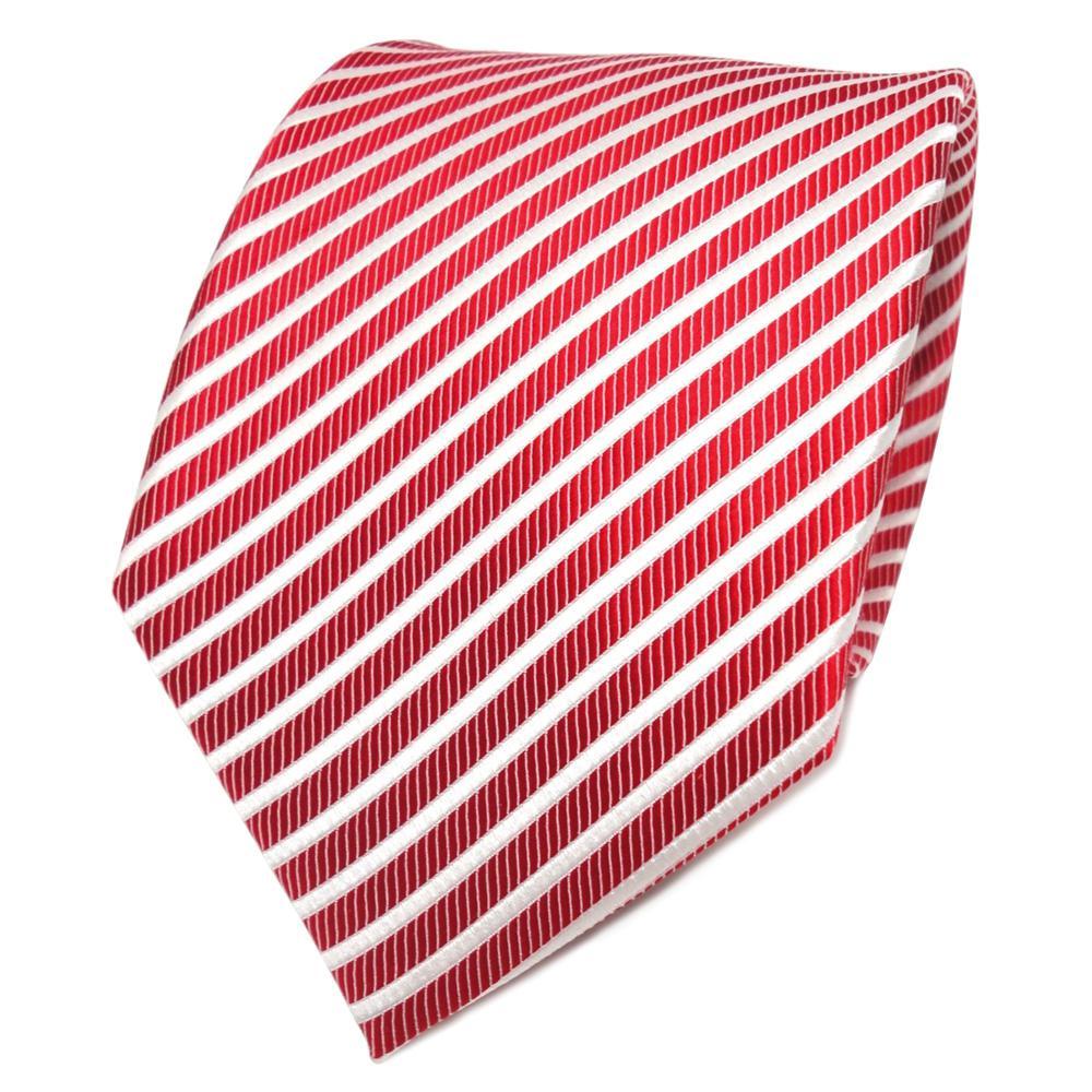 Krawatte Seide Designer Seidenkrawatte rot signalrot weiss schwarz gestreift