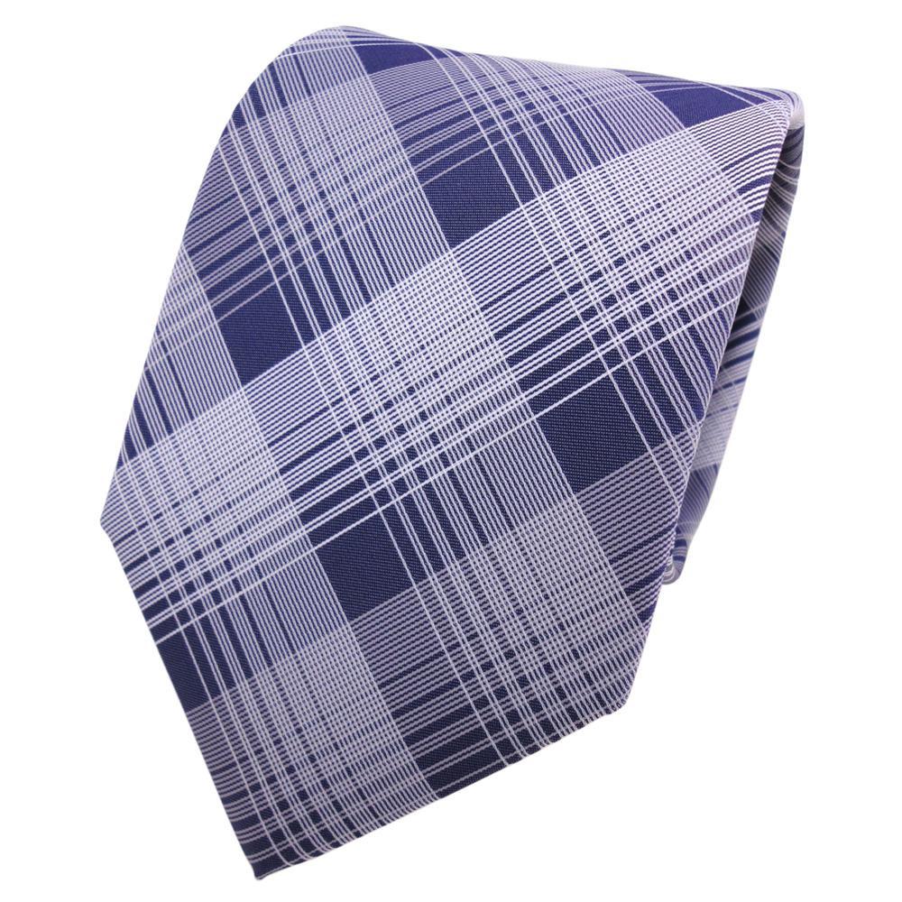 Designer Krawatte Blau Dunkelblau Silber Grau Kariert