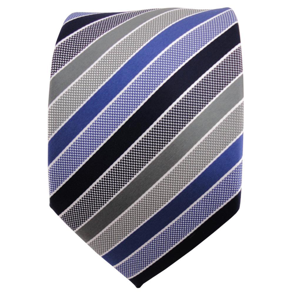 TigerTie Designer Krawatte Blau Dunkelblau Grau Silber