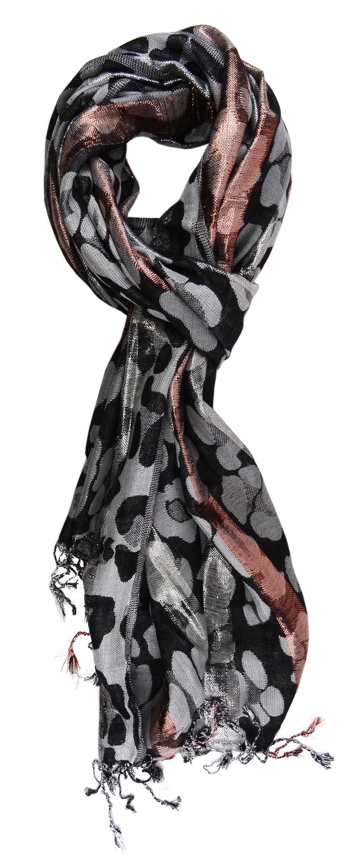 Glitzerfäden eingezogen TigerTie Schal in Hautfarbe grau beige violett silber