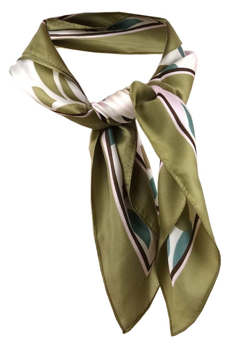 Tuch Gr 50 x 50 cm TigerTie Nickituch in grün grasgrün olive beige gestreift