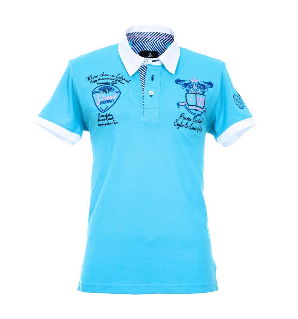 Pontto Herren Designer Polo Hemd Shirt weiß kurzarm Gr. S Polohemd Poloshirt