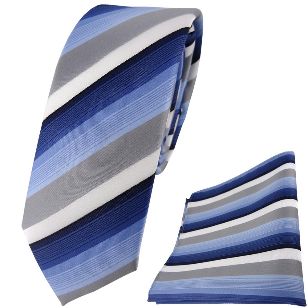 Schmale TigerTie Krawatte + Einstecktuch In Blau