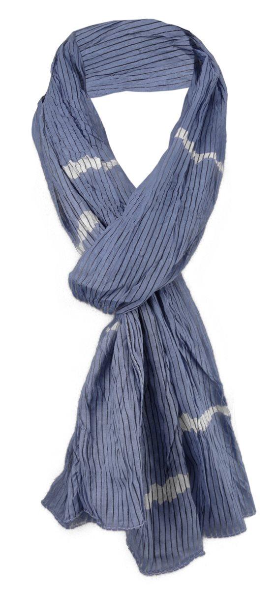 99cba9611b83f7 gecrashter Schal in blau graublau weiß schwarz gestreift - Gr. 180 x 50 cm