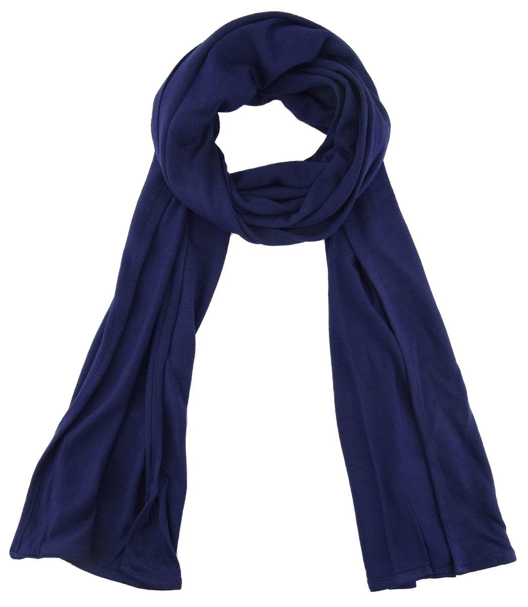 a42ee585f4626b TigerTie - Schal in dunkelblau einfarbig Uni - Größe 180 x 30 cm - 100%