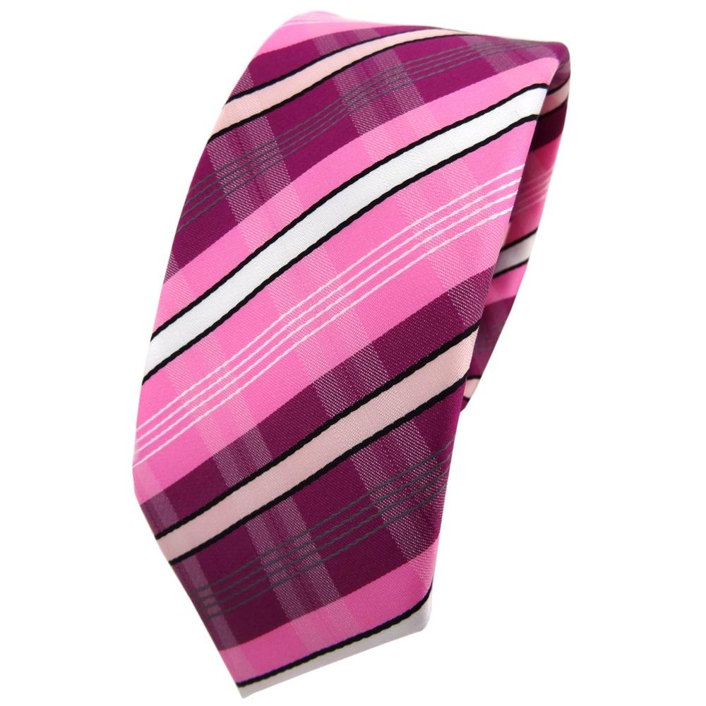 Schmale Tigertie Krawatte Lila Violett Rosa Pink Weiß Schwarz Grau