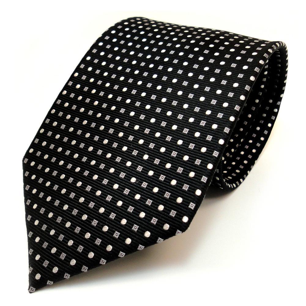 TigerTie Designer Seidenkrawatte blau hellblau weiß gepunktet Krawatte Seide