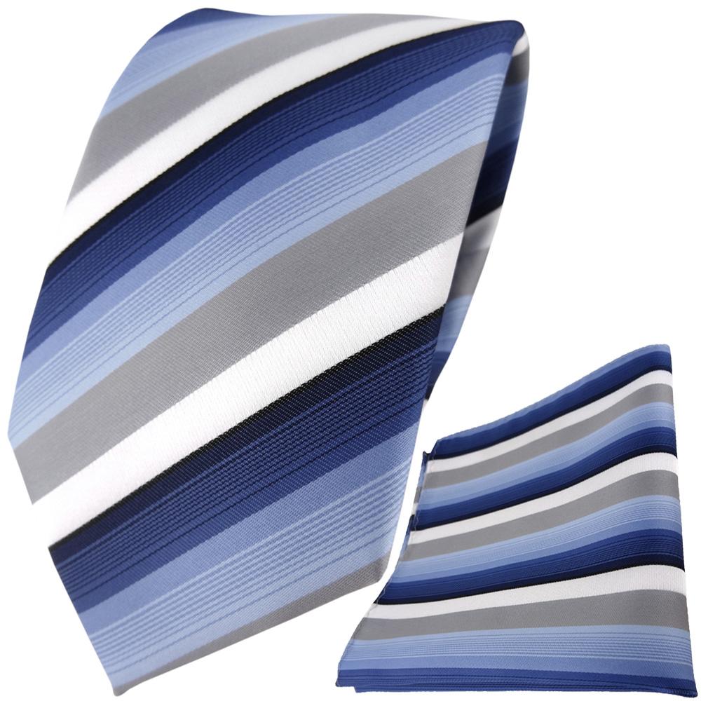 TigerTie Designer Krawatte + Einstecktuch Blau Dunkelblau