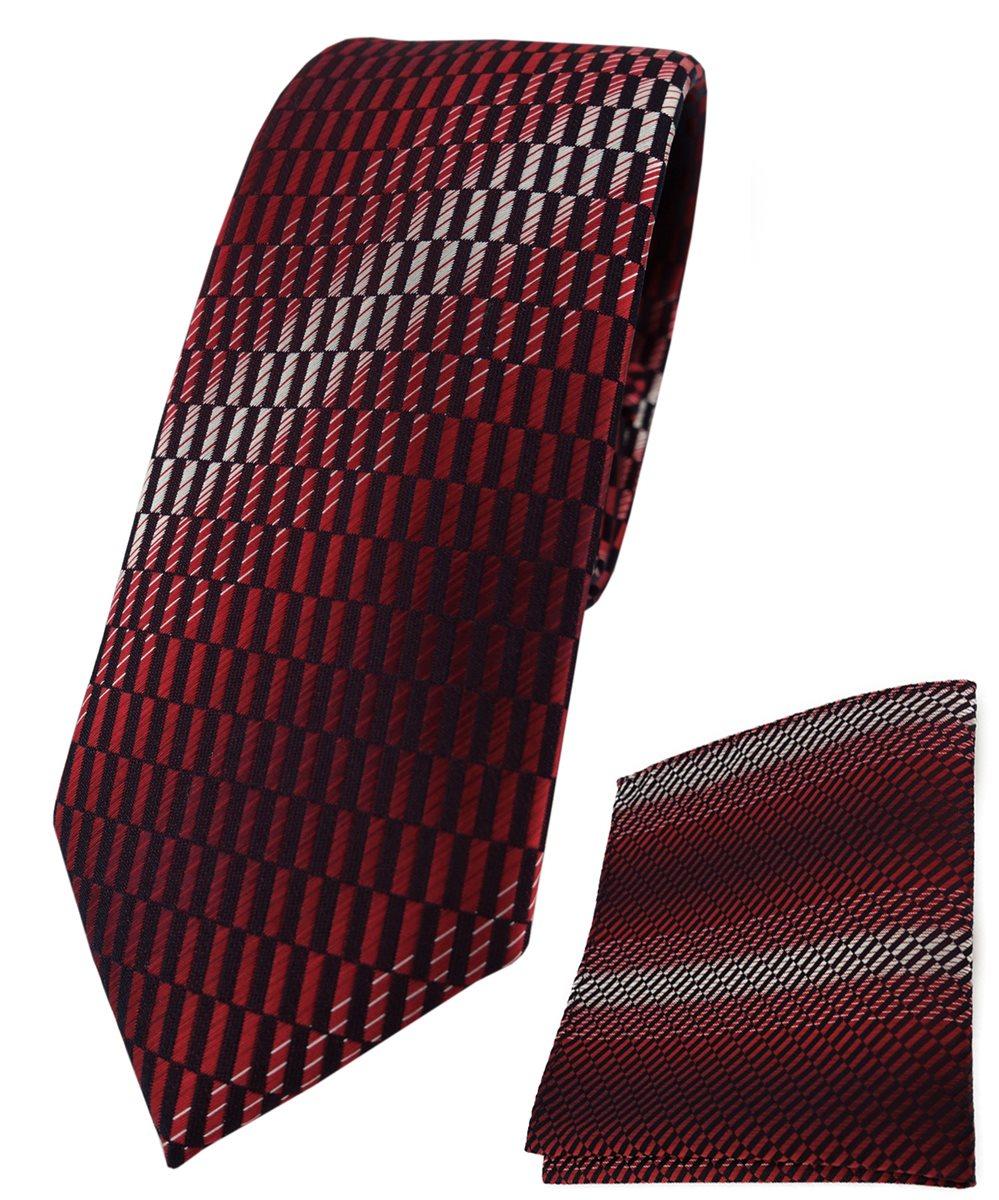 schmale TigerTie Designer Krawatte in rot schwarz silber Paisley gemustert