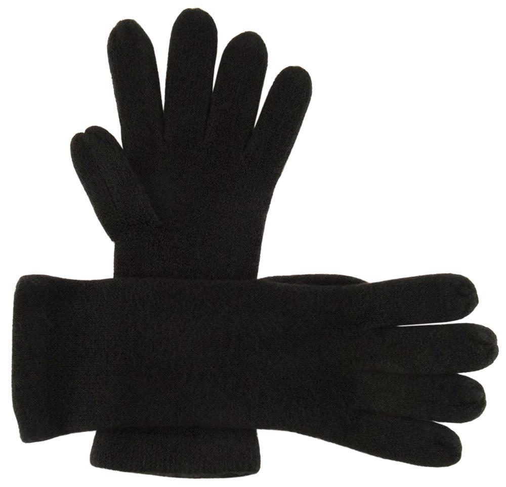 a8689a199f4c29 feine Strickhandschuhe in schwarz Stich braun Uni - Damen Handschuhe Größe  M 1 ...