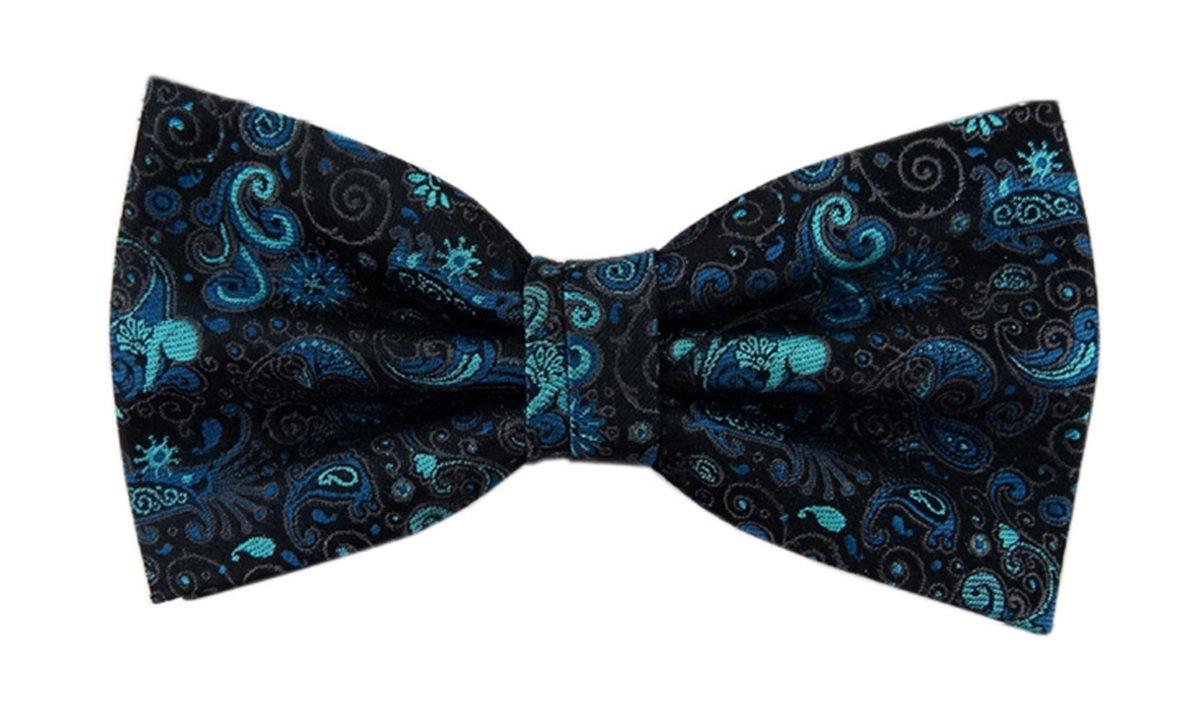 TigerTie Designer Fliege blau anthrazit schwarz Ornamente Paisley Aufbewahrungsbox
