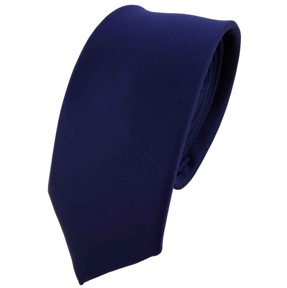 schmale TigerTie Krawatte blau dunkelblau stahlblau einfarbig uni Binder