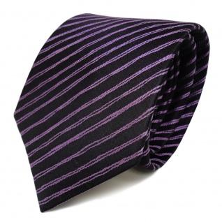 Schicke Seidenkrawatte lila flieder schwarz gestreift - Krawatte Seide Tie