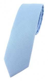 TigerTie - schmale Krawatte hellblau einfarbig - Breite 5, 5 cm - 100% Baumwolle
