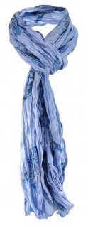 Raffschal in blau lila türkis mit Vogelmotiven gemustert - Schalgröße 180x50 cm