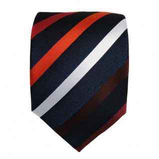 Designer Seidenkrawatte rot weinrot orangerot blau silber gestreift - Krawatte - Vorschau 2