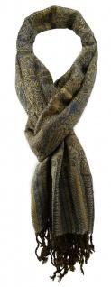 TigerTie Designer Schal in blau türkis gold schwarz gemustert - Gr. 180 x 50 cm