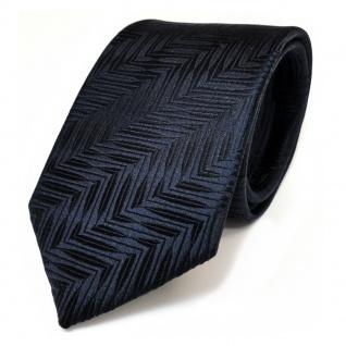 TigerTie Seidenkrawatte blau dunkelblau schwarzblau gemustert - Krawatte Seide
