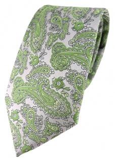 TigerTie Designer Krawatte in grün silber Paisley gemustert