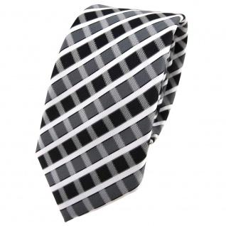 Schmale TigerTie Krawatte anthrazit grau silber weiss gestreift - Schlips Binder