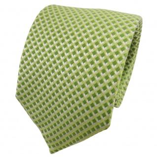 TigerTie Seidenkrawatte grün hellgrün gelbgrün silber kariert - Krawatte Seide