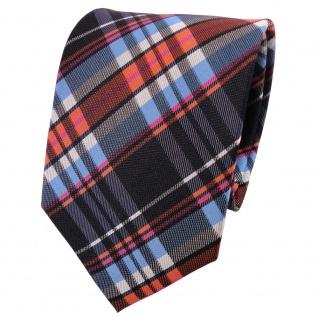 TigerTie Seidenkrawatte blau orange anthrazit silber magenta kariert - Krawatte