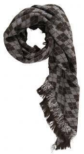 Halstuch in dunkelbraun grauweiss gemustert mit Fransen - Tuchgröße 100 x 100 cm
