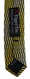 schmale TigerTie Designer Krawatte in gelb gold schwarz silber gemustert - Vorschau 5