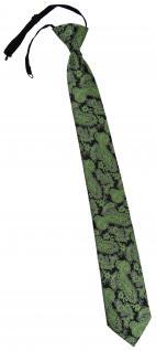 TigerTie Security Sicherheits Krawatte in grün schwarz silber Paisley gemustert