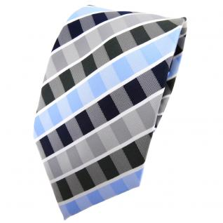 TigerTie Krawatte blau hellblau dunkelblau grau anthrazit weiß gestreift - Tie