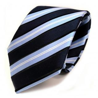 TigerTie Seidenkrawatte blau dunkelblau schwarz silber gestreift - Krawatte