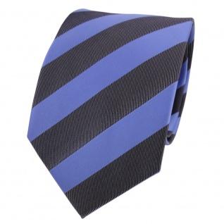 Designer Krawatte blau brillantblau anthrazit schwarz gestreift - Schlips Binder