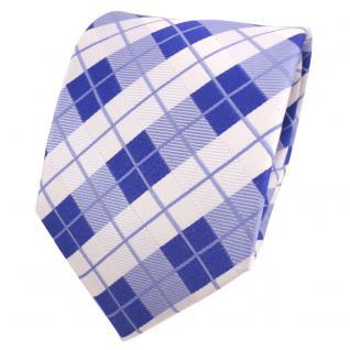 TigerTie Designer Seidenkrawatte blau signalblau weiß kariert - Krawatte Seide