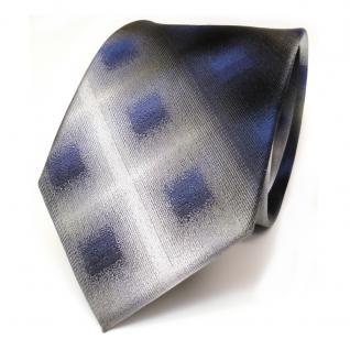 Designer Seidenkrawatte blau anthrazit grau schwarz kariert - Krawatte
