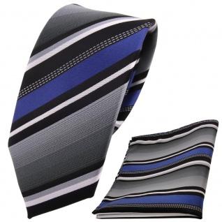 schmale TigerTie Krawatte +Einstecktuch blau silber grau weiss schwarz gestreift - Vorschau