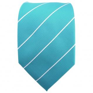 TigerTie Krawatte türkis türkisblau silber gestreift - Binder Tie - Vorschau 2