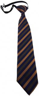 TigerTie Kinderkrawatte braun blau gestreift - Krawatte vorgebunden mit Gummizug