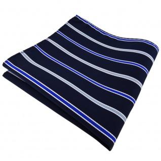 schönes Einstecktuch in blau royal schwarzblau weiß gestreift - Tuch Polyester