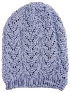 Damen Strickmütze hellblau Uni - Wintermütze Mütze Größe (dehnbar zwischen M-L)