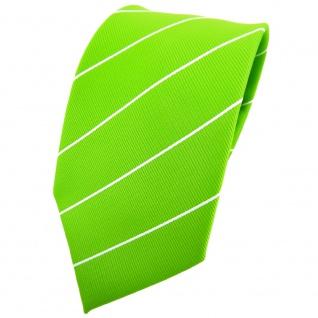 TigerTie Krawatte grün leuchtgrün neongrün silber gestreift - Binder Tie