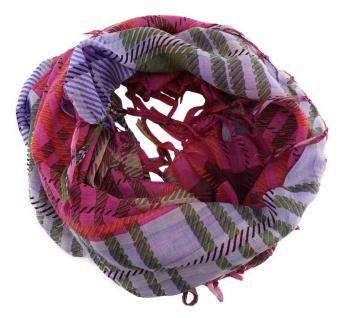 Damen Halstuch in lila magenta rot kariert Gr. 90 cm x 90 cm - Tuch Schal