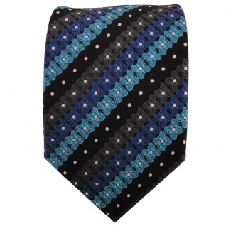 TigerTie Krawatte türkis blau schwarz anthrazit silber gestreift- Binder - Vorschau 2