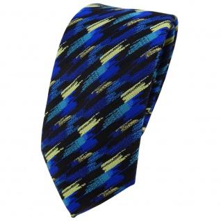 Modische TigerTie Krawatte in blau türkis gold schwarz gestreift gemustert
