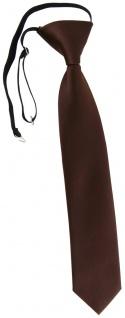 TigerTie Kinderkrawatte in dunkelbraun Uni - Krawatte vorgebunden mit Gummizug