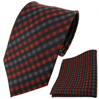 TigerTie Designer Krawatte + Einstecktuch orange anthrazit schwarz gestreift