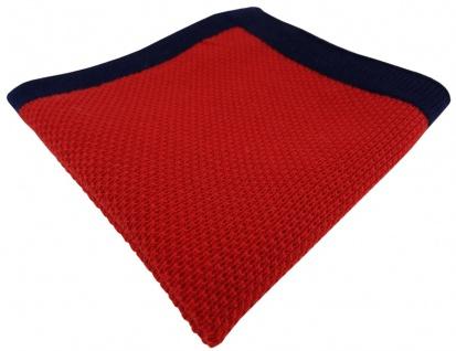TigerTie Designer Strick Einstecktuch in rot marine Uni - 100% Baumwolle