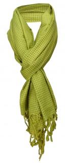 Schal in grün limette gemustert mit kleinen Karos -Baumwolle/Seiden Mischung
