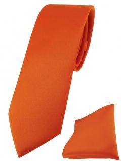 schmale TigerTie Designer Krawatte + Einstecktuch in orange einfarbig uni