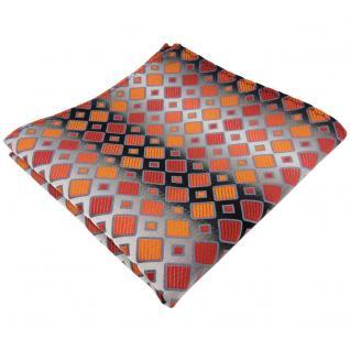 schönes Einstecktuch orangerot silbergrau schwarz kariert - Tuch 100% Polyester